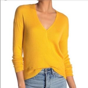 Yellow wrap front sweater